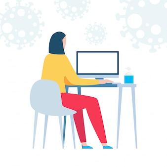 Коронавирусная концепция карантина. женщина, работающая дома. сидеть дома, женщина сидит и работает на ноутбуке. люди с компьютером. предотвратить распространение инфекции на белом фоне