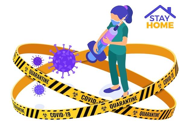 Коронавирусный карантин, сидящая дома медсестра в маске со шприцем и вакциной останавливает коронавирус. карантин от вспышки пандемии. изометрическая иллюстрация