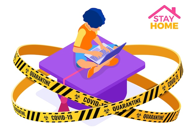 Coronavirus quarantine stay home. online education or distance exam with isometric character internet course warning barrier tape e-learning from home girl studying on laptop isometric