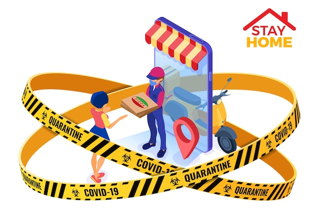 Coronavirus quarantine stay home. online food order and package delivery service food shipping isometric courier in mask warning barrier tape protection  with pizza and scooter