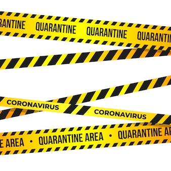 Coronavirus quarantine tape. quarantine warning sign of novel covid-19 outbreak.