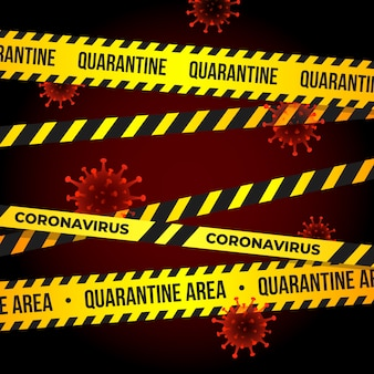 Coronavirus quarantine tape with flying particles virus 2019-ncov. quarantine warning sign of novel covid-19 outbreak. pandemic protection.