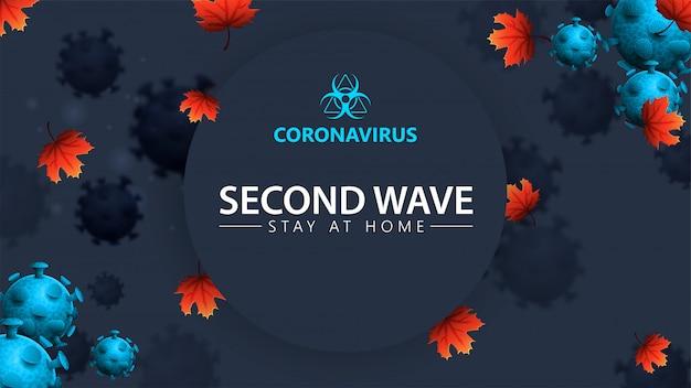 Коронавирус, вторая волна, остаться дома, синий баннер с 3d молекулами коронавируса, кленовыми листьями и предупреждающим знаком. covid-19, концепция второй волны. коронавирус 2019-нков.