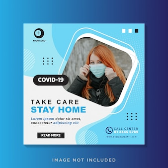 Coronavirus social media post template design