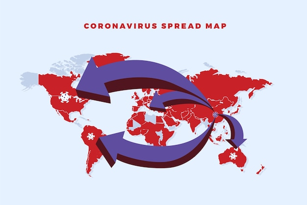Coronavirus spread around world map