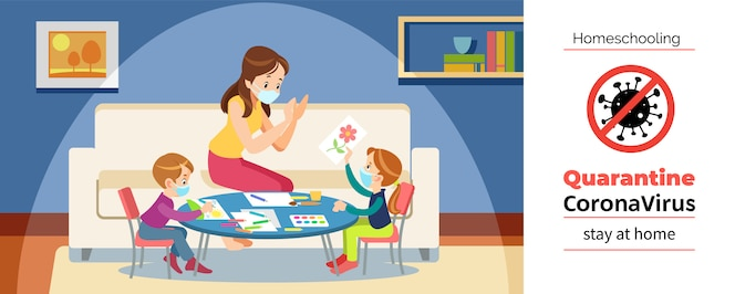 Coronavirus. stay at home. homeschooling. mother and children paint in the game room, wearing a protective mask during self-quarantine of the coronavirus. cartoon  illustration