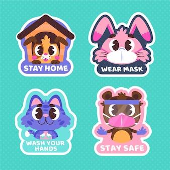 Coronavirus stickers with cute animals