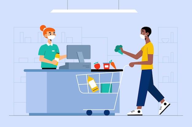 Coronavirus supermarket concept