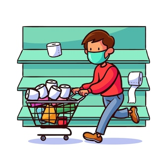 Coronavirus supermarket illustrated design
