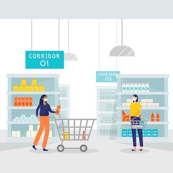 Coronavirus supermarket illustrated