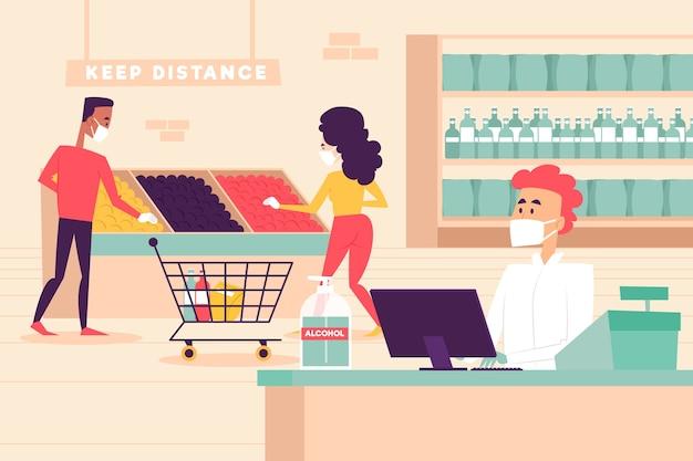 Tema dell'illustrazione del supermercato di coronavirus