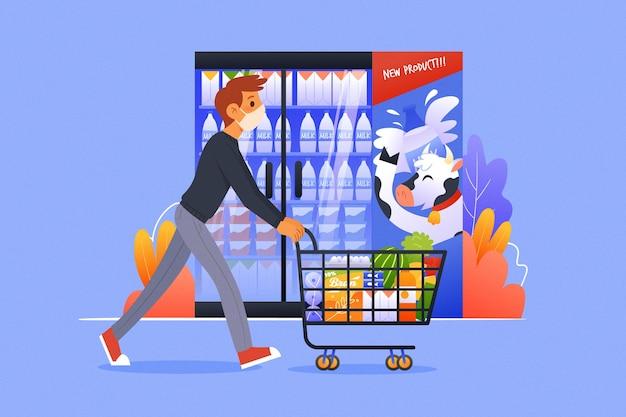 Tema del supermercato coronavirus