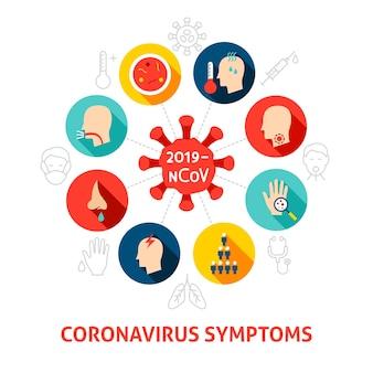 コロナウイルスの症状の概念のアイコン。オブジェクトと医療インフォグラフィックサークルのベクトルイラスト。