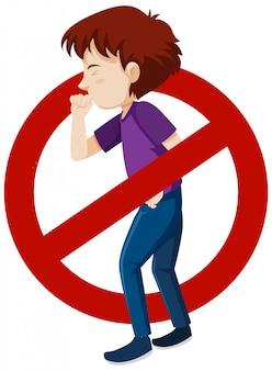 Tema di coronavirus con uomo malato e segnale di stop