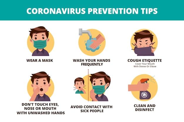 바이러스 방지를위한 코로나 바이러스 팁