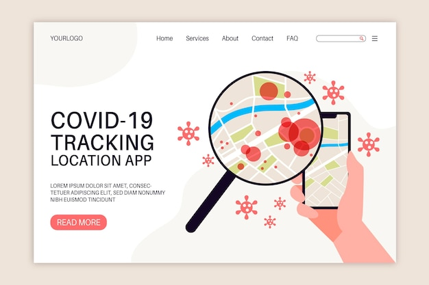 Coronavirus tracking location app - landing page