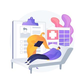 Illustrazione di vettore di concetto astratto di trattamento del coronavirus. misure di auto-quarantena, trattamento covid-19 a casa, terapia intensiva, maschera, medicina, metafora astratta di ventilazione polmonare.