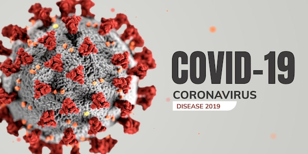 顕微鏡バナーベクトルの下でコロナウイルス