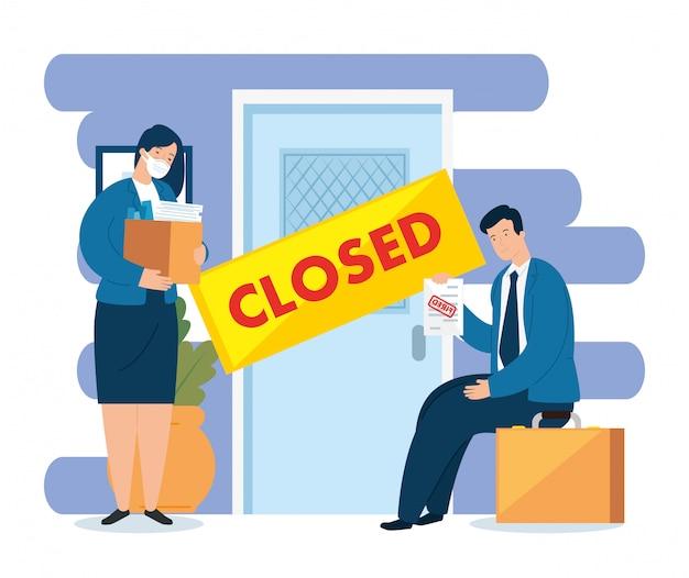 コロナウイルス、失業、covid 19からの失業、会社閉鎖、ビジネスシャットダウン、ビジネス人々、ドア閉鎖会社イラストデザイン