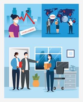 コロナウイルス、失業、covid 19からの失業、会社の閉鎖、ビジネスの閉鎖、フェイスマスクのイラストデザインを使用した人々の失業のシーン