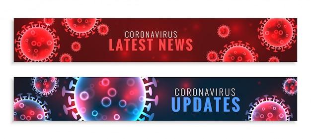 Set di aggiornamenti di coronavirus e banner larghi di ultime notizie