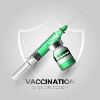 Concetto di sfondo di vaccinazione contro il coronavirus con siringa