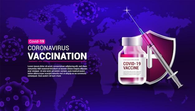 Баннер о вакцинации от коронавируса со шприцем, вакциной, щитом, коронавирусом и картой мира