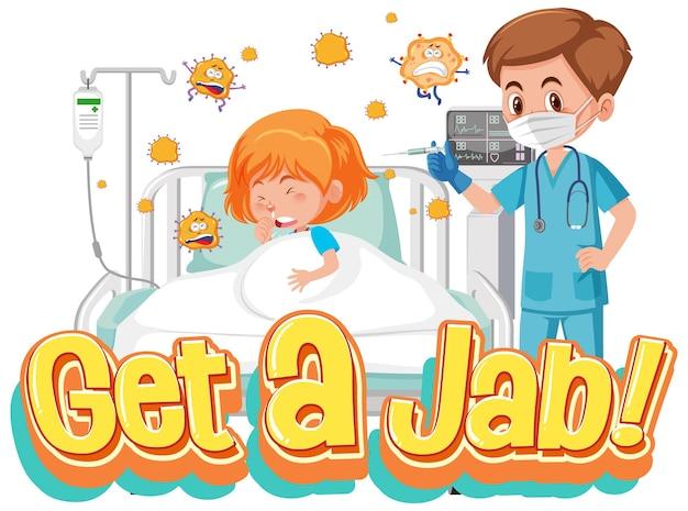 Концепция вакцинации против коронавируса с шрифтом jab time и мультипликационным персонажем доктора