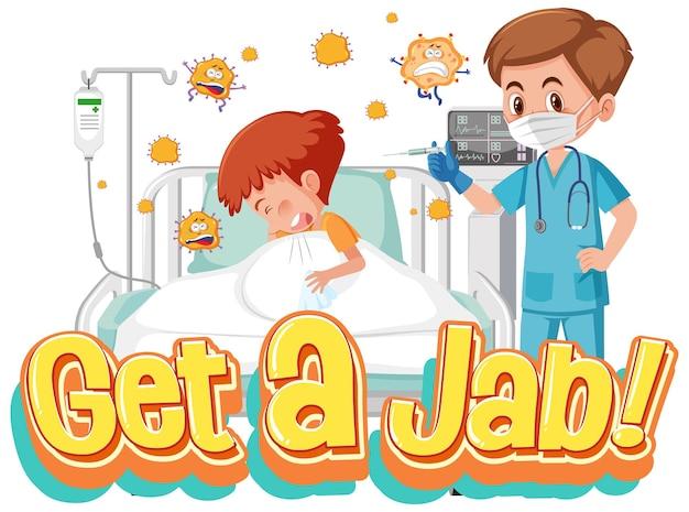 ジャブタイムフォントと医者の漫画のキャラクターとコロナウイルスワクチン接種の概念
