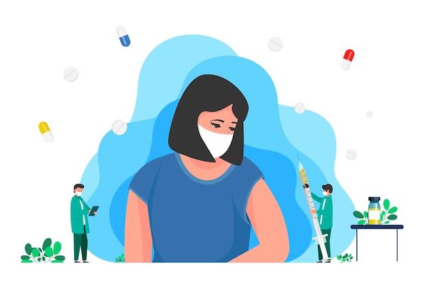 コロナウイルスワクチン接種、腕の筋肉、肩に患者を注射する医師。医学出版物の場合、感染症や細菌感染症に対する人々の免疫化と予防接種キャンペーン