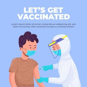코로나바이러스 예방접종, 의료진이 환자의 팔에 주사합니다. 보호복과 마스크를 쓴 의료진, 코비드-19에 대한 예방 접종 과정. 예방접종을 합시다. 귀여운 벡터 일러스트 레이 션