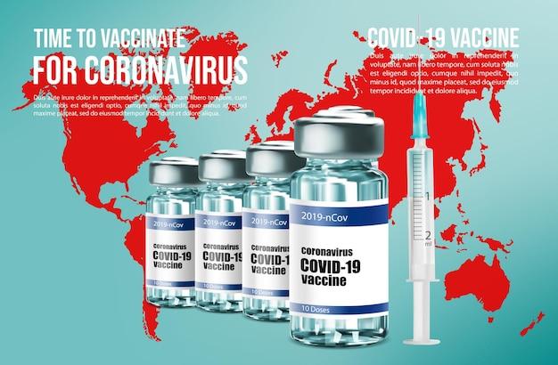 Coronavirus vaccination vaccine bottle and syringe