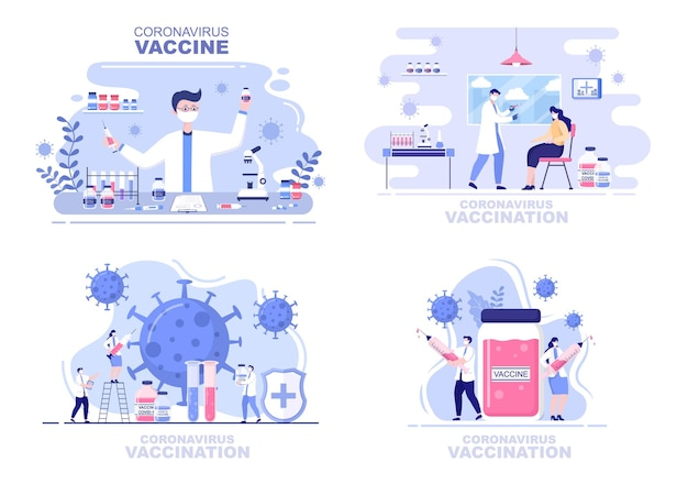 Coronavirus vaccination with syringe injection tool and medicine, help provide covid 19 vaccines for self-protection or maintaining health. vector illustration