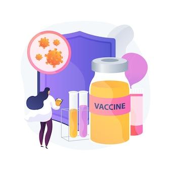 コロナウイルスワクチンの抽象的な概念のベクトル図です。ニューストラッカー、ワクチンの検索とテスト、コロナウイルスワクチン接種プログラム、医療研究所チーム、科学研究の抽象的な比喩。