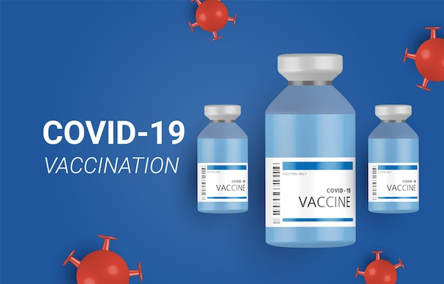 コロナウイルスワクチンと注射器注射の予防、コロナウイルスからの予防接種、コロナウイルスワクチンベクターの背景。ワクチンボトルによるcovid-19コロナウイルスワクチン接種