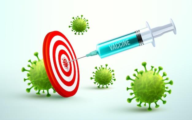 ダーツボードを標的とするコロナウイルスワクチンと注射器注射。covid19予防接種治療用の青い注射器注射ツール。