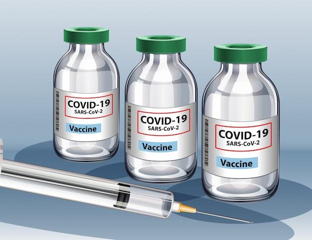 コロナウイルスワクチンと注射器