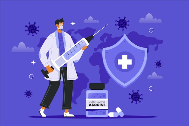 Coronavirus vaccine background with doctor illustrated