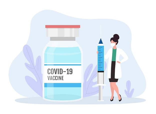 백신 병 및 주사 일러스트와 함께 코로나 바이러스 백신 개념