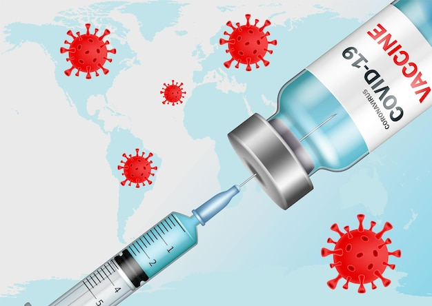 Коронавирус вакцина. концепция вакцинации и иммунизации против коронавируса. борьба с пандемией.