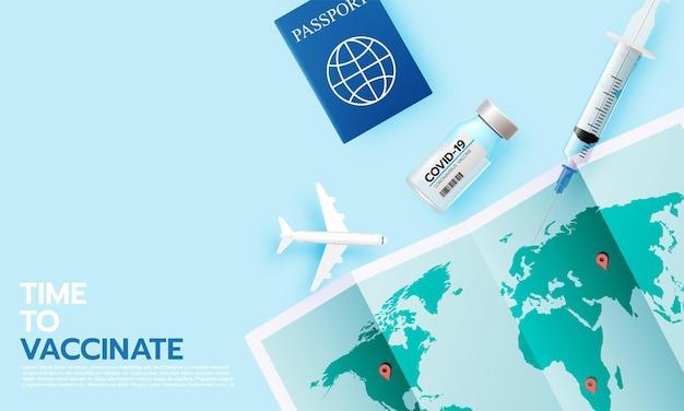 コロナウイルスワクチン。旅行する時間のための現実的なスタイルでのcovid-19コロナウイルスワクチン接種