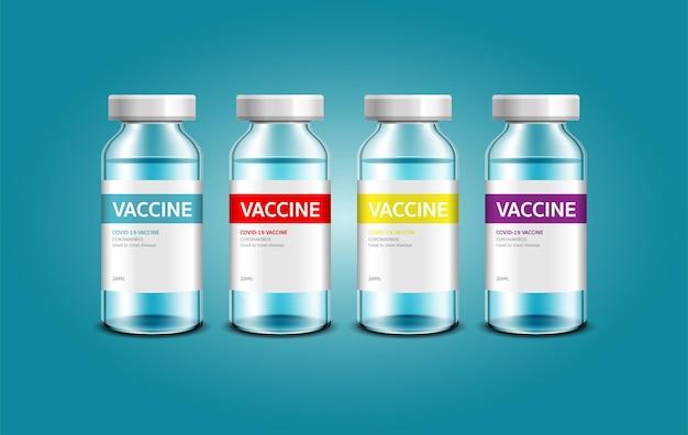 Вакцина против коронавируса covid19 векторный фон флакон с вакциной для лечения иммунизации covid19
