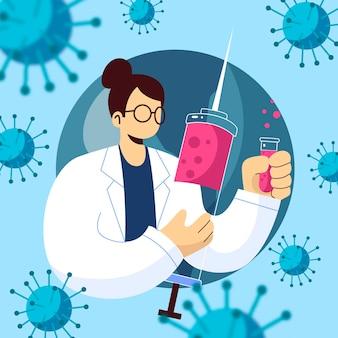Разработка коронавирусной вакцины со шприцем и врачом