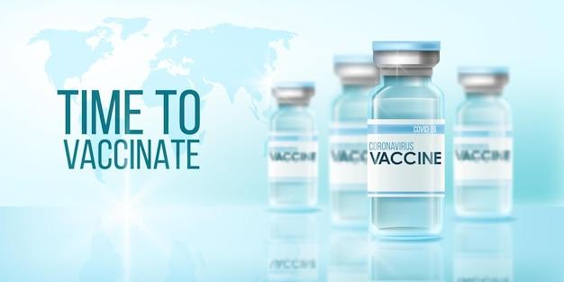 Coronavirus vaccine global pandemic medical background with world map