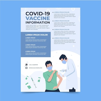 Coronavirus vaccine information flyer flat design