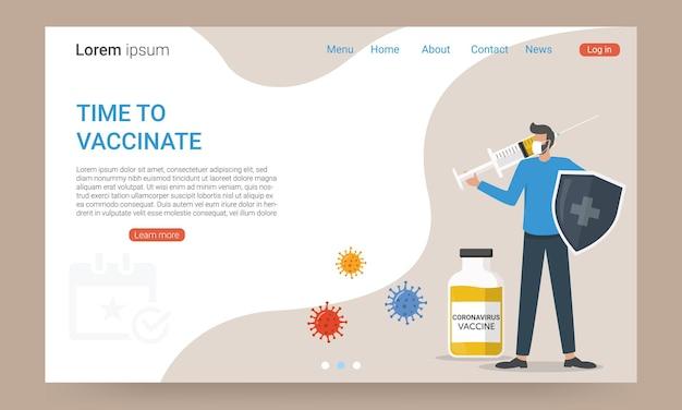 Coronavirus vaccine landing page, time to vaccinate