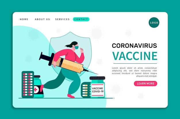 コロナウイルスワクチンのランディングページ