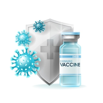 Coronavirus vaccine medical pandemic concept with bottle