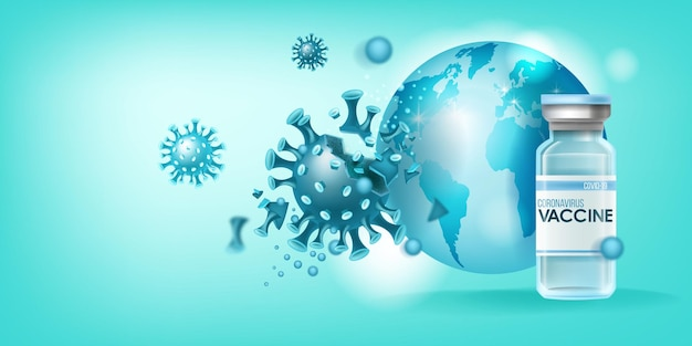 Coronavirus vaccine medical pandemic concept with disease molecule