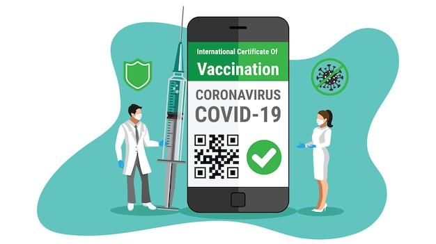 ワクチン注射器を保持している国際的な旅行conceptdoctorのためのスマートフォン上のコロナウイルスワクチン